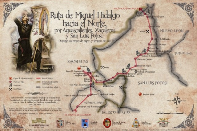 Ruta de Miguel Hidalgo hacia el Norte de México, por Aguascalientes, Zacatecas y San Luis Potosi